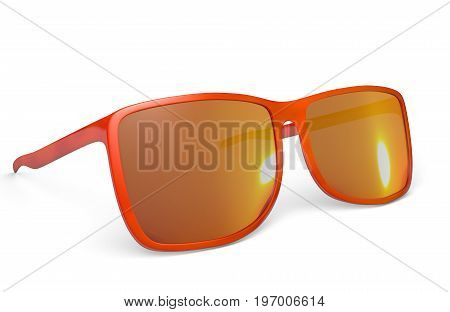 Trendy red sunglasses on a white background, 3D rendering