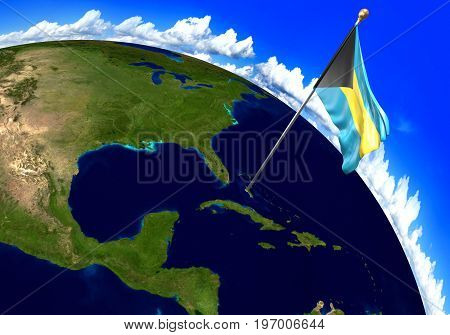 Bahamas national flag marking the country location on world map. 3D rendering, parts of this image furnished by NASA