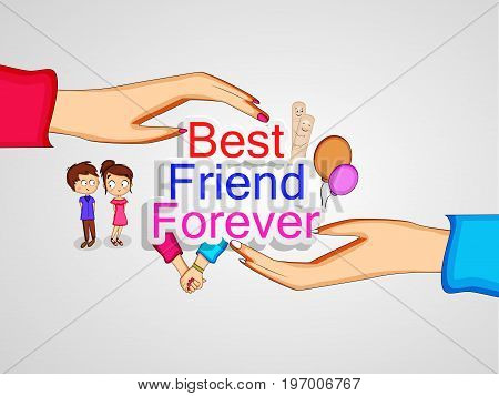 illustration of elements of  hands, boy, girl and balloons with best friend forever text on the occasion of friendship day