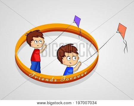 illustration of boys flying kite on the occasion of friendship day