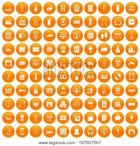 100 appliances icons set in orange circle isolated on white vector illustration