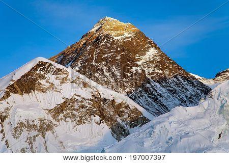 Evening colored view of Mount Everest from Kala Patthar Khumbu valley Solukhumbu Mount Everest area Sagarmatha national park Nepal