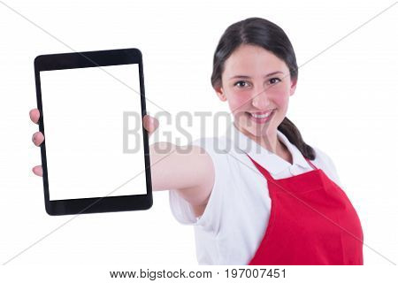 Slective Focus Of Female Employee Using Digital Tablet