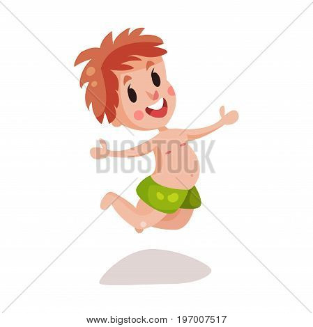 Little boy wearing shorts for swimming having fun on the beach colorful character vector Illustration on a white background