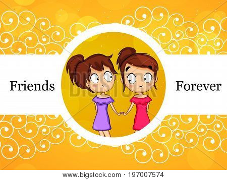 illustration of girls with friends forever text on the occasion of friendship day