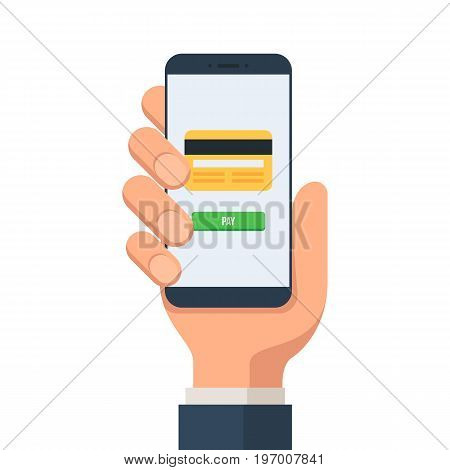Payment page and a credit card on the smartphone screen. Hand holding smartphone. Vector illustration in flat style isolated on white background