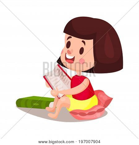 Sweet brunette girl sitting in a pillow and reading a book, education and knowledge concept, colorful character vector Illustration on a white background