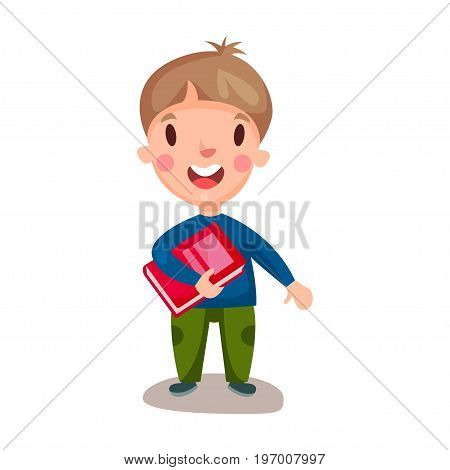 Cute happy boy standing and holding book, education and knowledge concept, colorful character vector Illustration on a white background