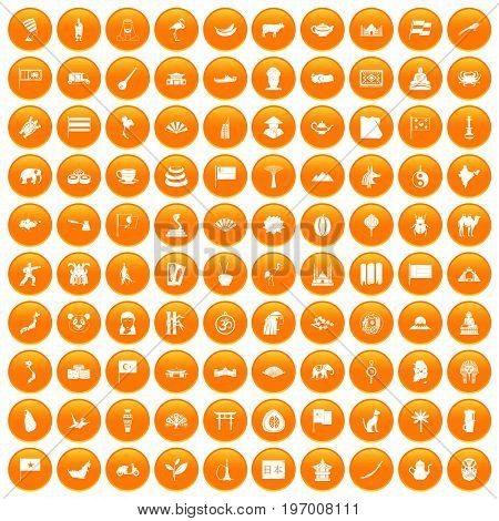 100 Asia icons set in orange circle isolated on white vector illustration