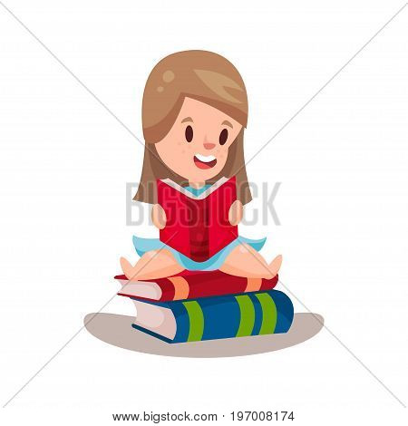 Sweet girl reading a book sitting on a pile of books, education and knowledge concept, colorful character vector Illustration on a white background