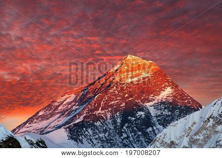 Evening colored view of Everest from gokyo valley - Nepal