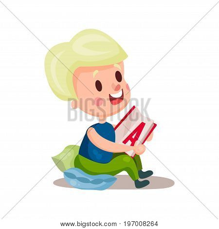 Sweet blonde girl sitting in a pillow and reading a book, education and knowledge concept, colorful character vector Illustration on a white background