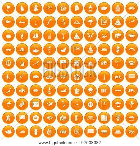 100 asian icons set in orange circle isolated on white vector illustration