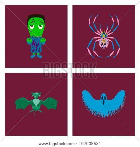 assembly of flat illustration zombie men spider bat ghost