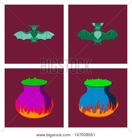 assembly of flat illustration cute bat potion cauldron
