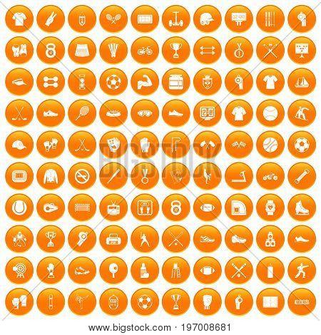 100 athlete icons set in orange circle isolated on white vector illustration