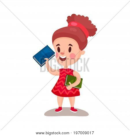 Beautiful girl standing and holding books, education and knowledge concept, colorful character vector Illustration on a white background