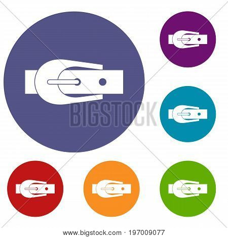 Elegant trousers belt icons set in flat circle red, blue and green color for web