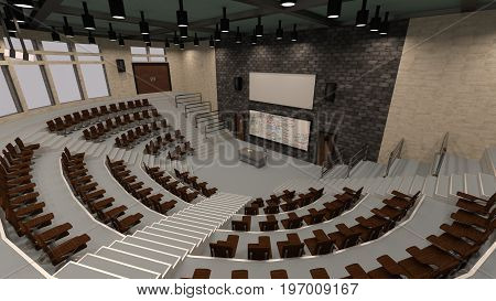 3D rendering of a lecture hall interior
