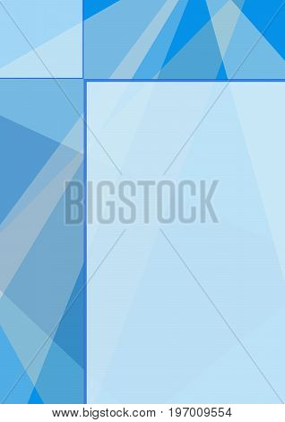 Geometric blue background with text place, technology template. Layout modern design for covers, magazines, brochures, leaflets, booklets, prospectuses, annual reports, posters. EPS10 vector illustration, size A4