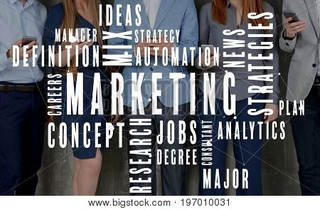 MARKETING word cloud and people with smartphones on background