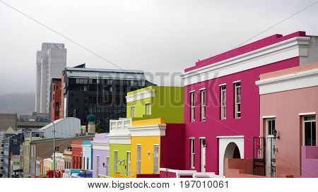 Bo-Kaap is a Muslim region of Cape Town, with bright beautiful houses. Cape Town, South Africa