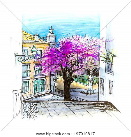 The typical Lisbon street with stairs and flowering spring tree Portugal. Picture made markers