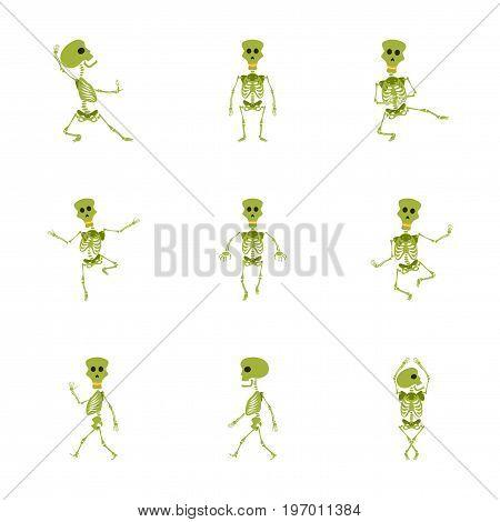 assembly of flat illustration skeleton Halloween monster