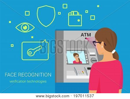 Face recognition and atm identification. Flat vector illustration of woman getting access to atm by face recognition technology. Young woman wearing glasses standing near bankomat with face on screen