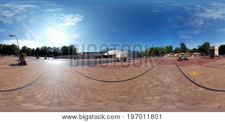 Svetlogorsk, Russia - July 23, 2017: Amber Hall (Yantar Hall) theatre at sunny day time. 360 VR panorama