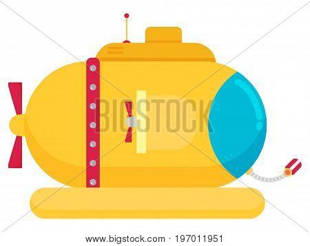 Transportation Submarine flat icon isolated on white vector