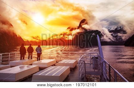 tourist on cruising boat in milford sound fiordland national park most popular traveling destination in new zealand