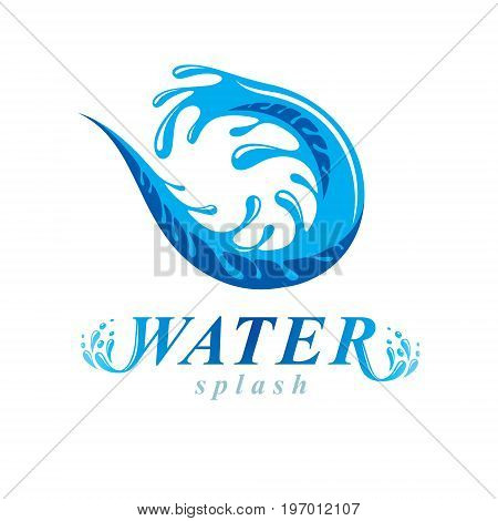 Freshwater conceptual blue vector emblem for use in mineral water advertising. Human and nature harmony concept.