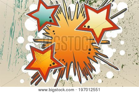 Abstract vector background of explosion stars in graffity style.