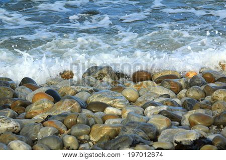 Big pebbles on the beach Brittany France