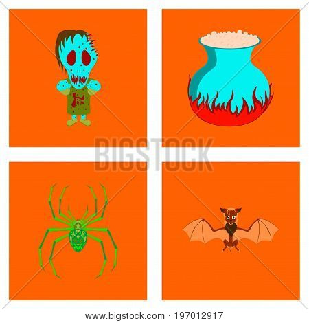 assembly of flat illustration halloween monster book skull potion cauldron bat