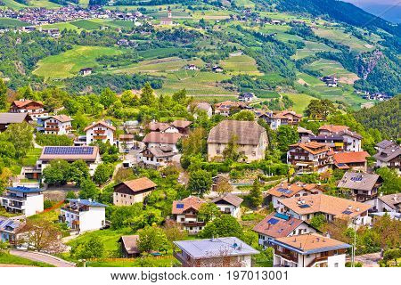 Idyllic Alpine Village Of Gudon Architecture And Landscape View