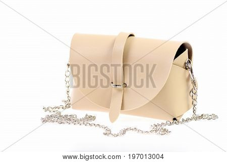 Casual Leather Purse Isolated On White Background
