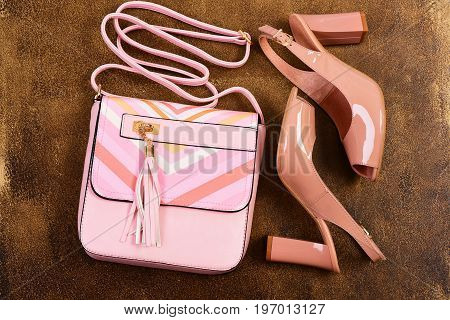 High Heel Sandals For Summer. Pair Of Shoes And Handbag