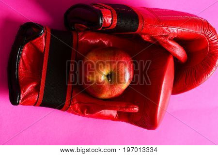 Sport Equipment And Fruit On Magenta Pink Background. Boxing Gloves