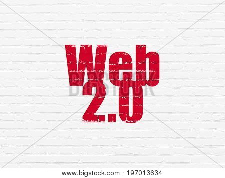 Web design concept: Painted red text Web 2.0 on White Brick wall background