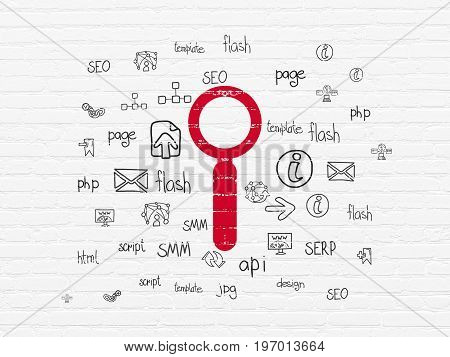 Web development concept: Painted red Search icon on White Brick wall background with  Hand Drawn Site Development Icons