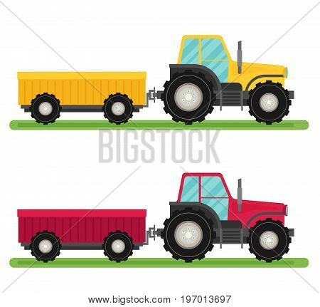 Tractor with trailer vector. Flat design. Industrial transport.