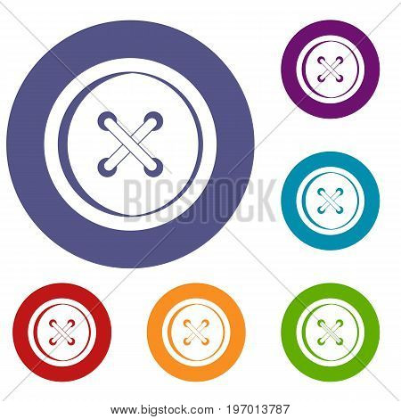 Plastic button icons set in flat circle red, blue and green color for web