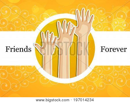 illustration of hands with friends forever text on the occasion of friendship day