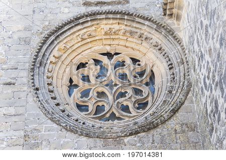 Baeza Cathedral stone rosette in Jaen Spain