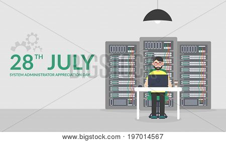 28 July System Administrator Appreciation Day. Technologies Server Maintenance Support Descriptions. Vector illustration in flat style.