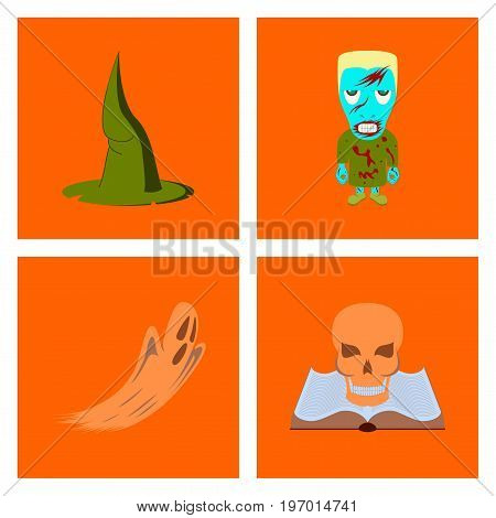 assembly of flat illustration witch hat monster ghost book skull