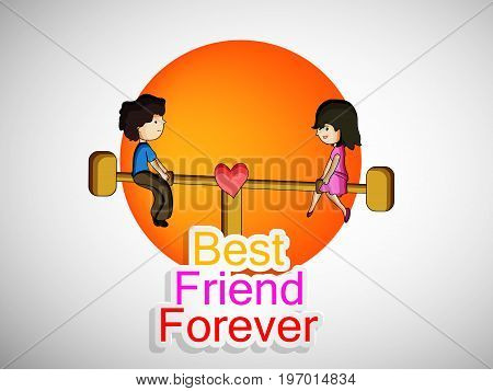 illustration of boy and girl playing seesaw with best friend forever text on the occasion of friendship day