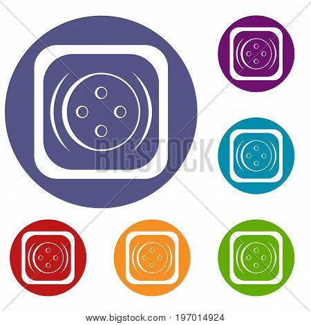 Clothing square button icons set in flat circle red, blue and green color for web